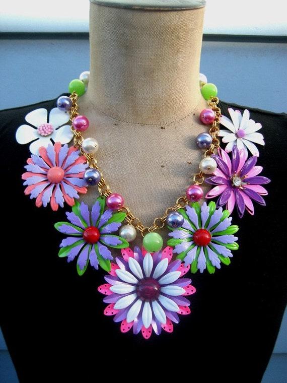 SALE In Full Bloom - A Vintage Enamel Flower Statement Necklace RESERVED FOR CHRISTINA
