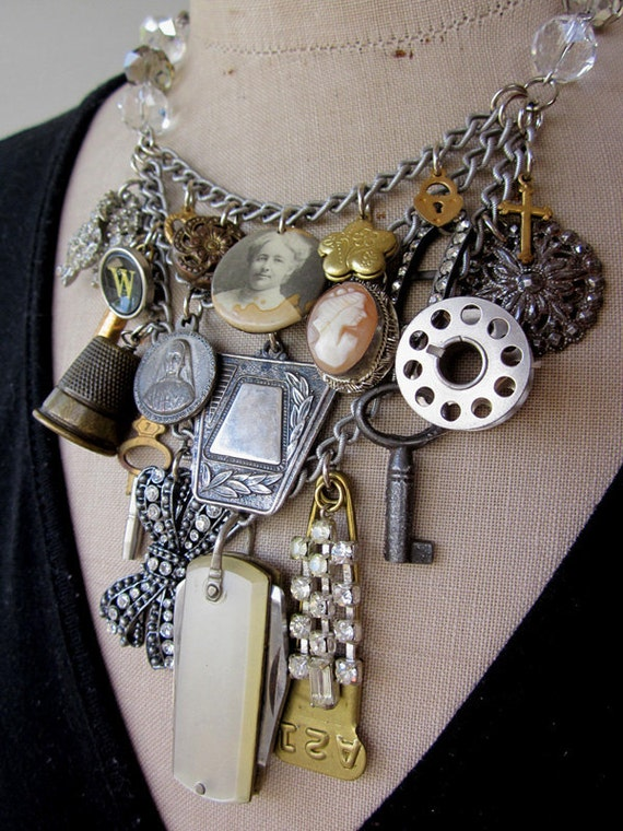 Vintage Necklace,  Charm Necklace, Bib Necklace  - A Tribute to Great Gran