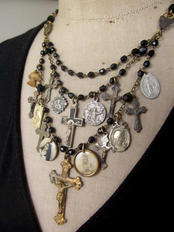 RESERVED Vintage Necklace, Charm Necklace, Rosary - The Prayer