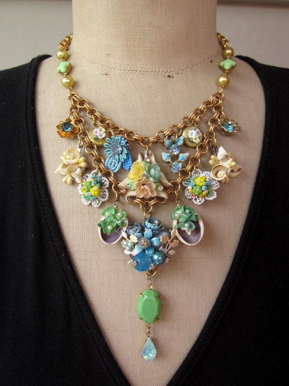 RESERVED FOR SARAH Vintage Necklace, Flower Necklace, Charm Necklace  - Spring Time