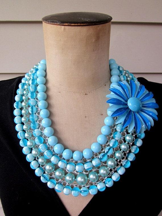 RESERVED Vintage Necklace, Enamel Flower Necklace, Multi Chain  - Blue Bayou