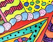 FUNKY-Original Watercolor Artwork Print 5X7
