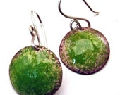 Copper Enamel Artisan Earrings LIME GREEN Size Medium Round Discs on Handmade Sterling Silver Earwires
