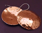 Huge Hammered Copper Disc Earrings - HEY JUPITER - Dangly Discs 1 1/2 inches Round on Sterling Silver Wires - Rustic Tribal Artisan Jewelry