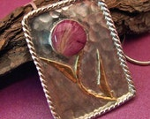 20 percent off SALE - Pink Rose petals, Resin, Sterling Silver and 14 Karat Gold Pendant - One of a Kind Modern Artisan Flower Necklace
