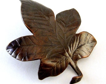 SALE - MAPLE LEAF Handmade Copper Pin Brooch, Rustic Patina, One of a Kind Artisan Fine Metal Nature Jewelry, Autumn Fall Wedding Accessory