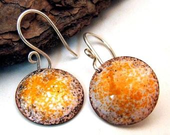 Handmade Copper Enamel Earrings - TANGERINE DREAM - Medium Round Discs on Sterling Silver Wires