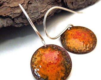 Copper Enamel EArrings ORANGE FLAME Orange and Red Rustic Torch Fire Enamel Earrings, Medium Circles on Sterling Silver Wires