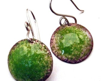 Copper Enamel Artisan Earrings LIME GREEN Size Medium Round Discs on Handmade Sterling Silver Earwires