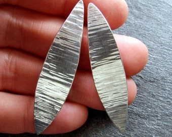 SILVER FEATHER Earrings - Handmade Hammered Sterling Silver, Long Lightweight Artisan Nature Jewelry on Posts