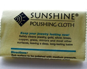 Sunshine Polishing Cloth for Cleaning Metal Jewelry, Flatware, Glass or Mirrors, Removes Tarnish