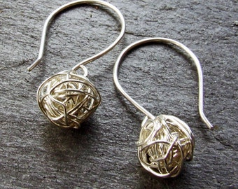 SILVER Yarn ball Tumbleweed Earrings - Dangly, Woven from Fine Silver Wire on Handmade Sterling Silver Ear Wires