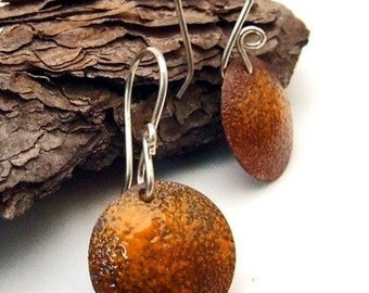 PUMPKIN SPICE - Orange Copper Enamel Earrings, Medium Round Orange Discs Dangly on Handmade Sterling Silver Wires