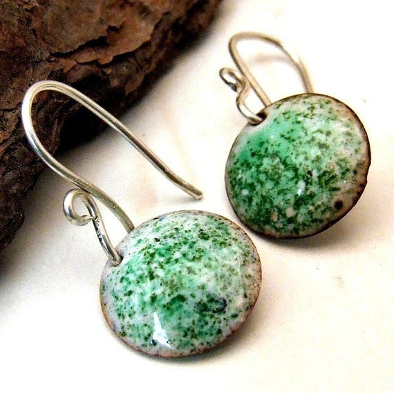Copper Enamel Earrings - MINI MINT - Small Round Discs Green and White on Handmade Sterling Silver Dangly Earwires, Rustic Artisan Jewelry