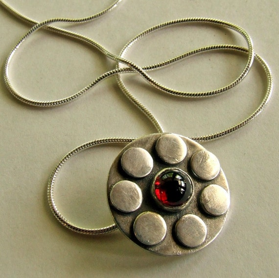 SUNFLOWER Necklace made with Recycled Sterling Silver and a Garnet Gemstone - One of a Kind