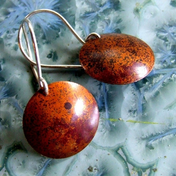 Modern Copper Patina Earrings, EARTH and RUST, Size Medium Discs on Handmade Sterling Silver Ear Wires - READY To Ship