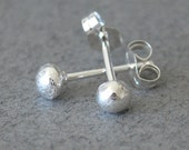 Recycled Sterling Silver Studs Handmade Small Post Earrings Melted Sterling Silver Balls