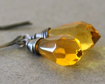 Pointed Amber Briolette Earrings Faceted Yellow Glass Chandelier Teardrops Wrapped in Oxidized Sterling Silver