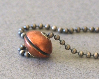 """Handmade Riveted Copper Bead Necklace 18"""" Chain Cold Connection Tube Riveted Copper Handformed with Sterling Silver Oxidized to Dark Patina"""