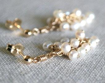 Pearl Cluster Earrings in Gold