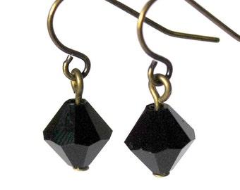 Jet Black Diamond Crystal Dangles