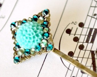 Teal Blue Chrysanthemum and Crystals Hair Pin
