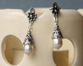 Simple and Elegant Antiqued Pearl Dangling Earrings Bridal/Formal Wear