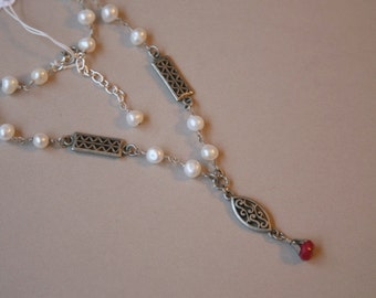 Pearls and Cherry Quartz Necklace