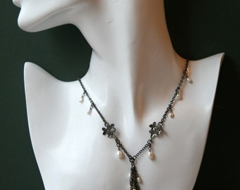 Gunmetal and Pearl Necklace