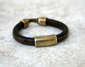Men's Thick Brown Leather and Brass Plated Tube Bead Bracelet With Hook or Magnetic Clasp Free Shipping in US