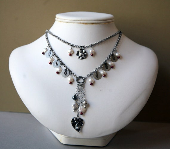 Pearls and Metal Drop Two Strand Cascading Necklace