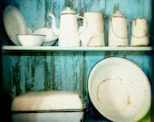 "African Kitchen, Turquoise & White, 5"" x 5"" Signed Art Photograph, Free Shipping"