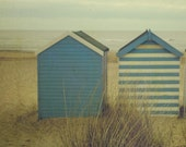 Blue Beach Huts - 5x5 inch Art Photograph Signed