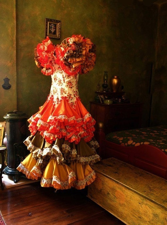 Flamenco Dress in Bedroom - Spain 2008 - 10x8  Photograph Signed