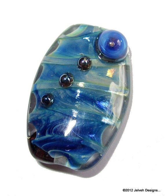 Pacific Blue Iridescent Pearl Shine,  Handmade Lampwork Glass Focal Bead...