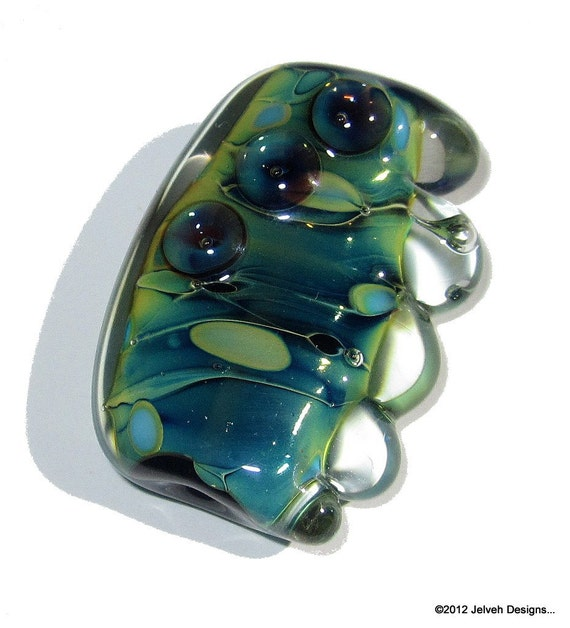 Pacific Blue Green Iridescent Pearl Shine,  Handmade Lampwork Glass Focal Bead...