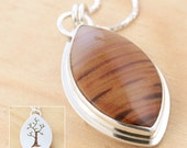 Reversible Petrified Wood and Tree Pendant, Handmade Sterling Silver