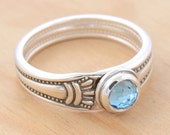 Spoon Ring with Blue Topaz, Upcycled Sterling Silver, Size 10