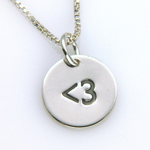 Less Than Three Petite Sterling Silver Charm Pendant, Geek Chic Jewelry
