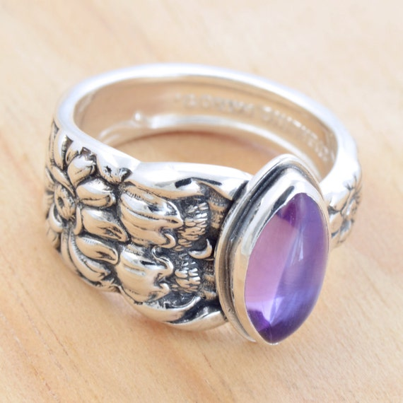 Spoon Ring with Amethyst, Upcycled Sterling Silver, Size 7