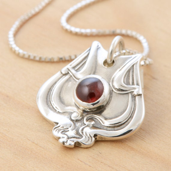 Spoon Pendant with Garnet - Handmade Upcycled Sterling Silver