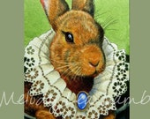 Victorian Lace Bunny Art ACEO Giclee Print By Melody Lea Lamb