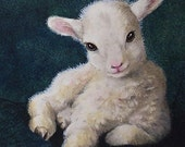 Easter Spring Baby Lamb Art from Small Animal Painting by Melody Lea Lamb Bookmark
