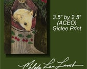 Christmas Holiday Mouse by Melody Lea Lamb ACEO Giclee Print