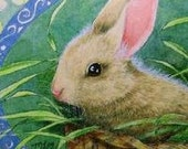 Cute Spring Bunny Bookmark From Original Art  by Melody Lea Lamb