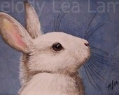 White Bunny Rabbit Miniature Art by Melody Lea Lamb ACEO Giclee Print