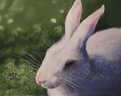 Charming Bunny Rabbit Miniature Art by Melody Lea Lamb ACEO Giclee Print