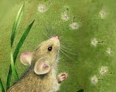 8x10 Cute Little Mouse Art Giclee Print by Melody Lea Lamb