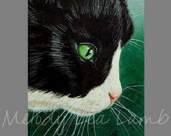 Small Animal Art Tuxedo Cat By Melody Lea Lamb ACEO Print