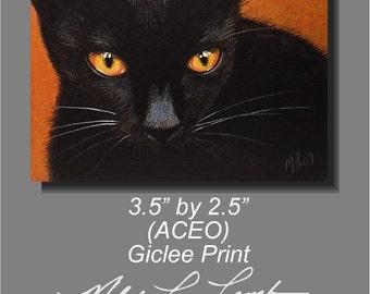 Halloween Black Cat Miniature Art by Melody Lea Lamb Giclee Print ACEO